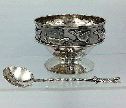 Silver Arts & Crafts Fox & Geese bowl & spoon A E Jones 1922