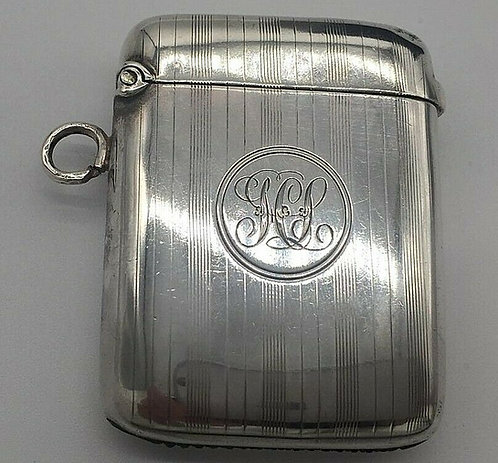 Silver Edwardian silver vesta or match safe by J E Wilmot Birmingham 1909