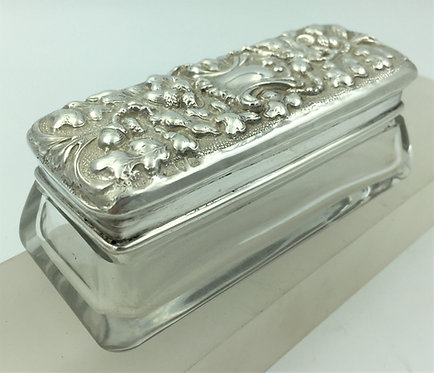 Ornate Silver topped Glass Trinket box Dressing table box Chester 1901