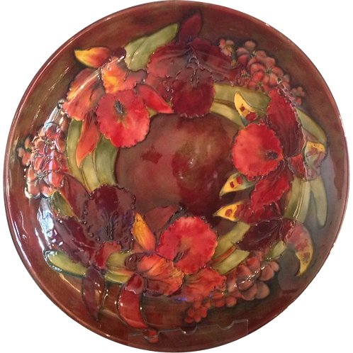 Large Moorcroft Orchid Flambe Plate 1950s