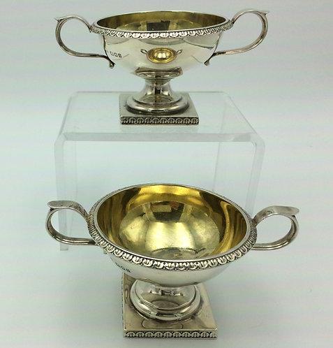 Pair silver salts condiment bowls Edward Barnard & Son London 1859