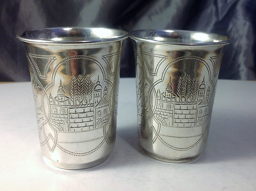 Pair of Imperial Russian silver beakers c1900