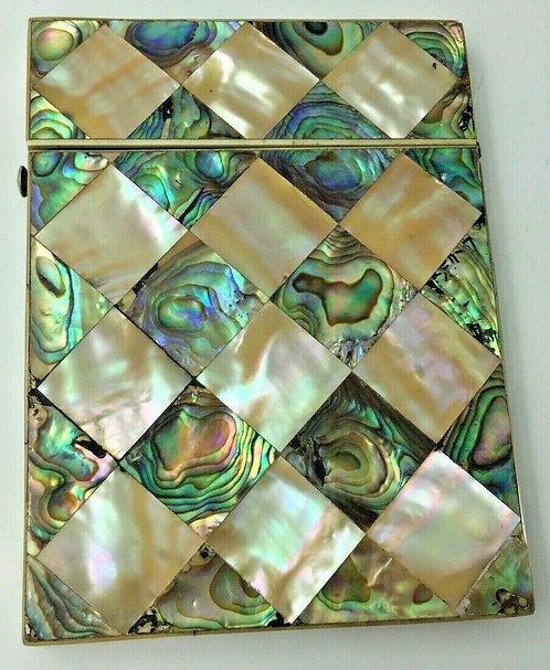 Abalone and Mother of Pearl Card Case in good condition c1880