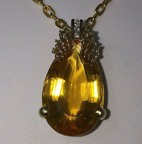 Stunning Large 17ct Pear Cut Citrine Lovely 14 ct Gold mount Full UK hallmark