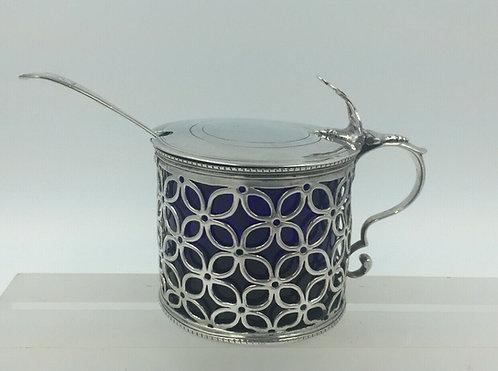 Superb large Georgian Mustard Wm LeStourgeon 1766 with spoon & liner
