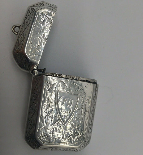 Silver vesta by Boots Pure Drug Co match safe Chester 1904