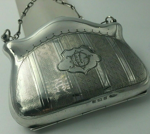 Silver purse Birmingham 1913 Original leather liner, Excellent condition