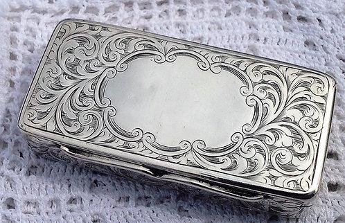 Victorian silver snuff box Hilliard & Thomason Birmingham 1853