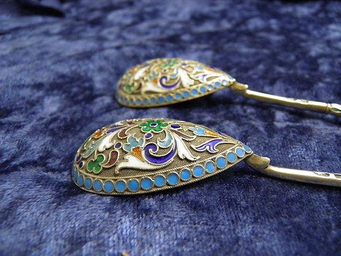 Pair Russian enamel spoons