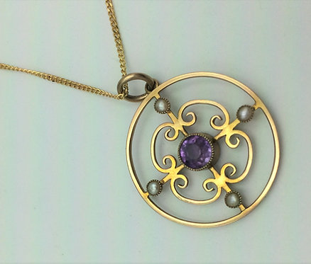 Edwardian Art Nouveau 9ct gold amethyst & Seed pearl pendant and chain