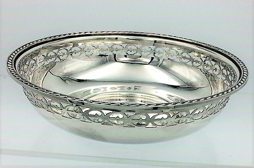 Silver pierced bowl by Walker and Hall 1935