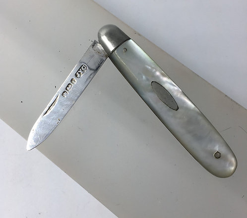 Silver Bladed Folding Fruit Knife Mother of Pearl Handle Sheffield 1901