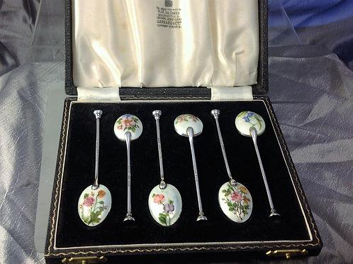 6 enamelled silver spoons floral decoration 1955