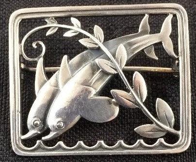 Georg Jensen silver dolphin brooch Malinowski design c1950 - 1960