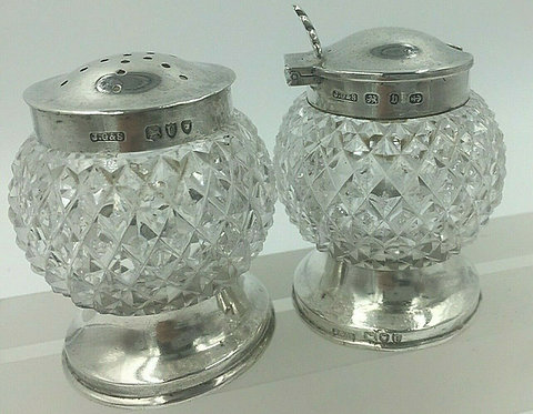 Silver mounted hobnail glass cruet set John Grinsell & Sons 1895 with spoon