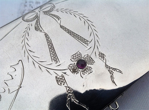 Imperial Russian Silver Purse Wallet Set with Amethyst C1910