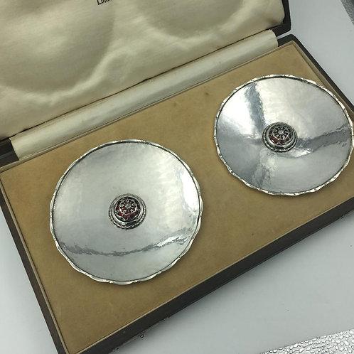 Pair of Silver enamel dishes Omar Ramsden London 1935 OriginalBox
