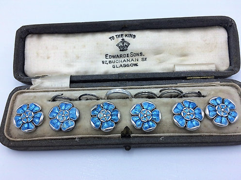 Set 6 silver enamelled buttons Chester 1918