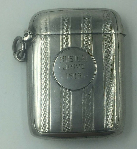 Silver Vesta or Match Safe by Wm Henry Sparrow Birmingham 1913
