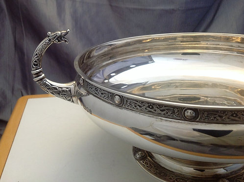 Celtic design silver bowl with dragon handles 1935