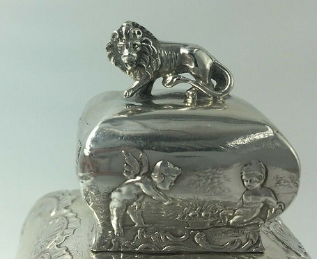 Victorian lion topped Sterling Silver tea Caddy embossed romantic scenes 1900