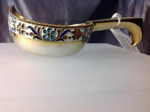 Russian Plique-a-Jour enamelled silver gilt Kovsch