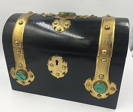 Charles Asprey c1865 Gothic Revival Ebonised box cask Malachite Mounts