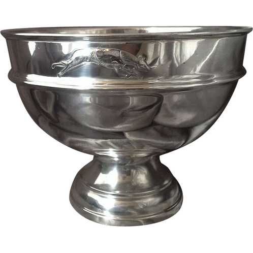 Silver rose bowl Greyhound motif