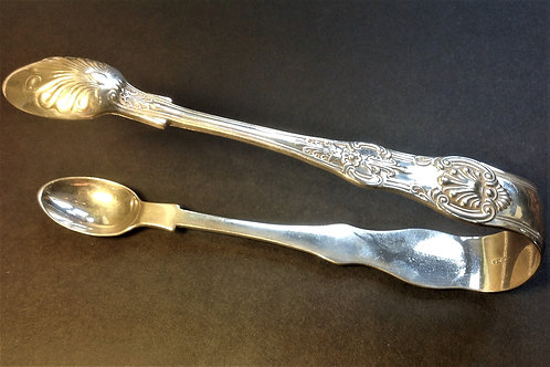 Silver tongs Queens pattern London 1884