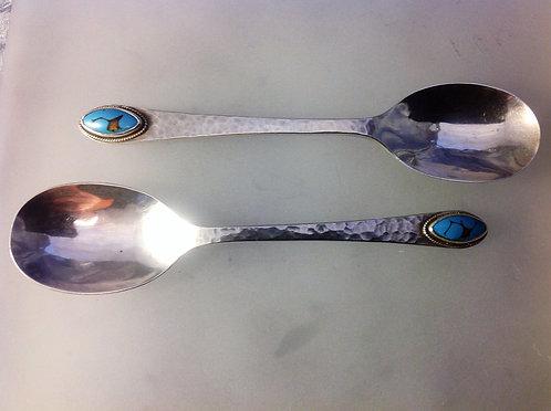 Pair Arts Crafts spoons Bernard Instone 1926