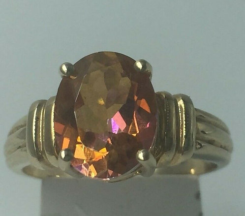 9ct Yellow Gold Imperial Topaz Solitaire ring size N Full UK Hallmark