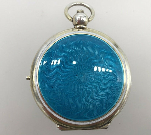 Silver Gilded Guilloche enamel pendant compact Cohen & Charles London c1920