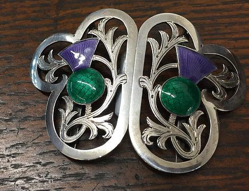 Silver & enamel Scottish thistle motif belt buckle Birmingham 1911