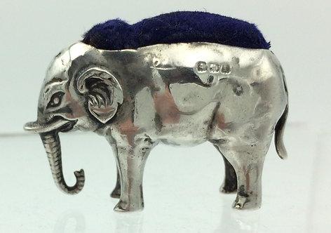 Edwardian silver elephant pin cushion Birmingham 1905