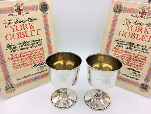 Pair of silver goblets City of York 1971