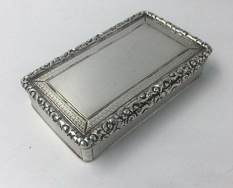 Superb silver William IV Larger Snuff tobacco box Edward Smith 1835