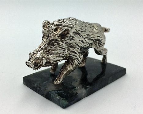 Solid Silver wild boar paperweight Jon Braganza