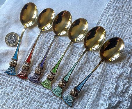 Silver enamelled teaspoons Thistle motif to terminal