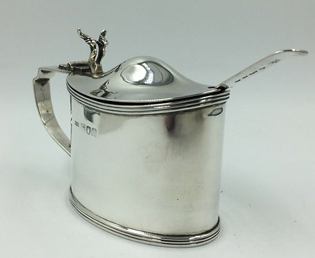 Edwardian Silver Mustard Pot with liner and spoon Stokes & Ireland London 1902