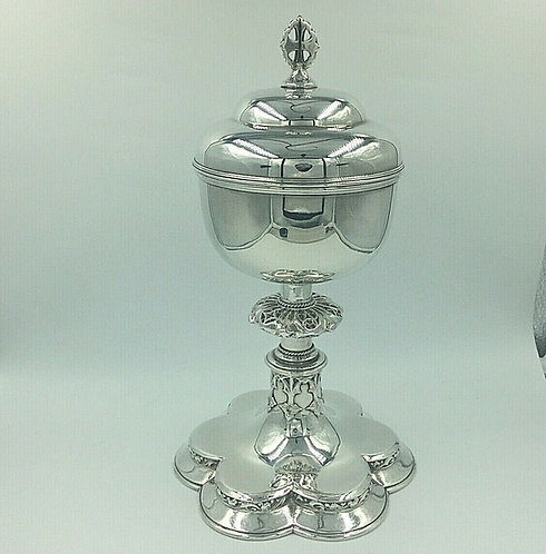 Silver Ciborium Chalice Gothic Revival c1880 Excellent Condition