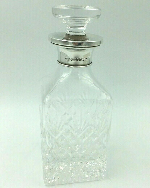 Silver mounted Perfume bottle Birmingham 2000 millennium mark Broadway & Co
