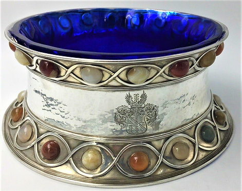Stunning Large Arts & Craft Silver bowl set with agate cabochons Fox 1901
