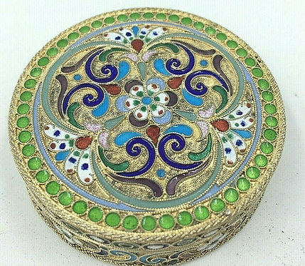 Russian silver and enamel cloisonne box St Petersburgh c1910