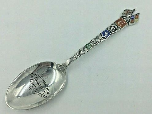 Unusual Commemorative Silver Enamel Spoon Coronation 1937 George VI Barker Bros