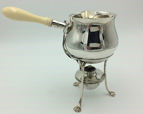 Silver brandy warmer - pan stand and burner London 1893