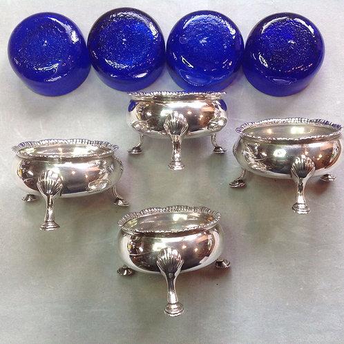 4 Georgian silver salts by Robert Hennel