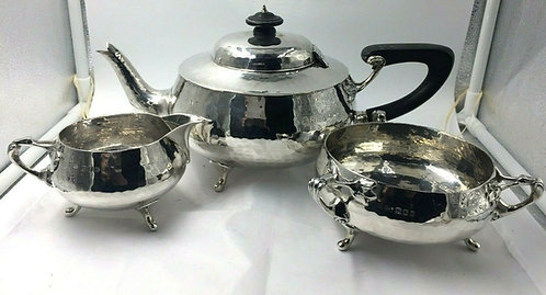 Solid Silver tea set service planished design art nouveau Charles Edwards 1919