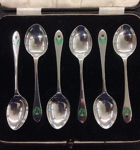 Set 6 silver and enamelled thistle spoons William Hair Hasseler 1914
