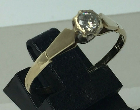 9 ct yellow gold 0.2 ct  diamond solitaire ring size R