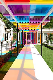 daniel buren creates a chromatic landsca